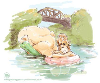 Boob Tubin' Summer Sketch by ZaftigBunnyPress