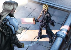 Cloud v Sephiroth by Deputee