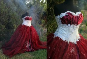 Snow White and Red Wine Bridal Gown by Firefly-Path
