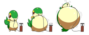 (Commission) Inflated Snivy by selphy6