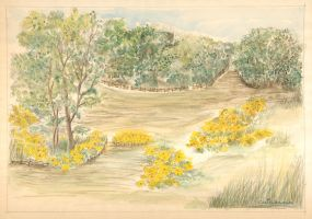 Commission - Countryside with Yellow Daisy Flowers by KatyAmlie