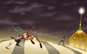 Korra Fighting Equalists by kaniphish