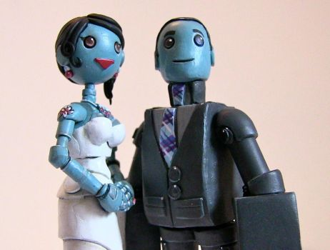 Robot Wedding Cake Toppers For Arizona by SpaceCowSmith