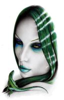 Her green eyes by DemonOfGuillotine