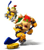 Bowser and Bowser Jr. Hockey Poster by DryBowzillaJP