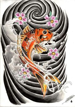 koi tattoo by catfromhell