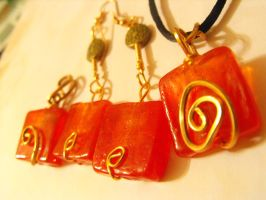 Tangerine Candy earrings and pendant set by Feeriee13