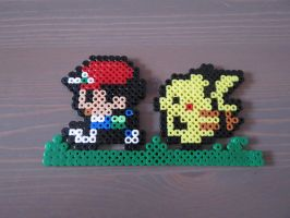 Ash and Pikachu - Fuse beads by Deadly-Grape
