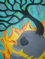 Skull with Fire Tree by ToniTiger415