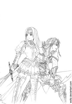 Valkyrie Profile 2 Lineart by Woltz