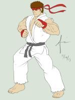 Ryu Street Fighter Flat Color by Ajanime22