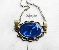 Handmade Resin Scorpio Bronze Oval Necklace by crystaland