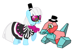 Porygon And Photo Finish Go British Day 31 by DrLonePony