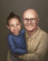 Grandpa and Grandson Portrait Commission by bugsandbears