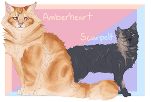 Amberheart and Scarpelt (Warrior cat OCs) by Aria-Hope