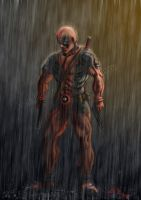 Deadpool waiting out the storm by NakadaiShimada
