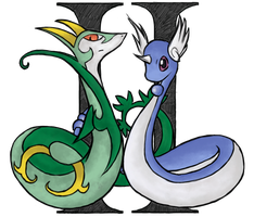 Gemini Pair: Serperior And Dragonair by XI-Hypocrisy-IX