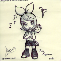 Rin Kagamine Art by amyrose7