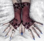 Amaranthus Long Lace Fingerless Gloves by ZenAndCoffee