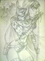 Huntress Sketch by CdubbArt