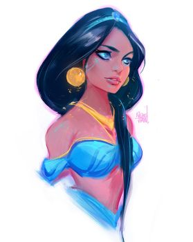 Princess Jasmine Sketch :) by rossdraws