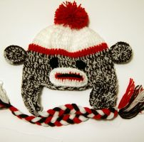 Baby sock monkey hat by Knitnutbyjl