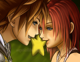 Sora and Kairi: Paopu Fruit by snowygem