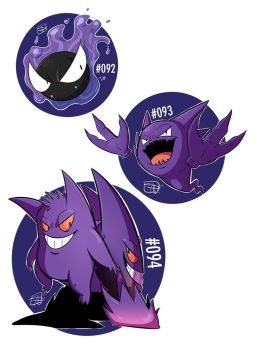 092 - Gastly 093 - Haunter 094 - Gengar by steven-andrew