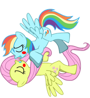 Rainbow Dash and Fluttershy kiss of language by BrisaFluttershy