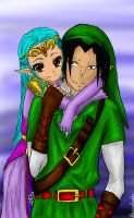 Gajeel and Levy as Link and Princess Zelda by beccahanks