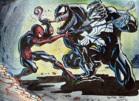 venom vs spiderman by heckthor