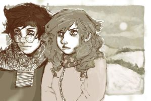 Reflection: Harry and Hermione by stawil
