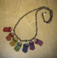 Kawaii Rainbow TARDIS necklace by Lovelyruthie