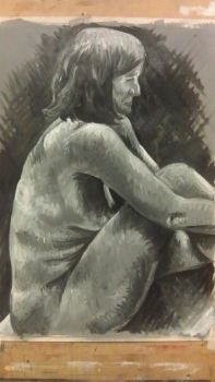 Seated Woman: crosshatch oil by ryoko-rock