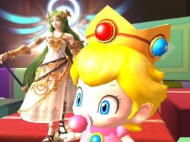 Palutena and Baby Peach by Sunnyme60