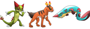 Amber and Chrome Starters Evos by T-Reqs
