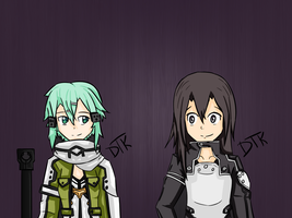 Kirito and Sinon Gun Gale Online GGO by DTKProductions