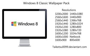 Windows 8 Classic Wallpaper Pack by Taiketsu0099 by Taiketsu0099