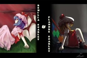 Remilia and Flandre Scarlet by Banzatou