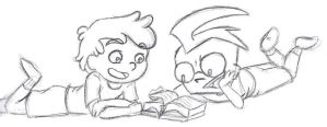 Crossover Kids: Reading by Invader-Sam