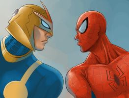 Nova and spidey by iannoviar