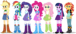 Equestria Girls Mane 7 Human Puppets by TiredBrony