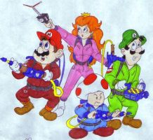 The Mario Gang as Ghostbusters by tr3forever