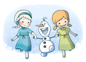 Frozen - Elsa, Anna and Olaf! by miyu96
