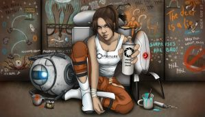 Rebel Chell and her Portal Cohorts by AshleyKayley