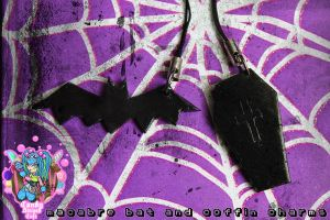 macabre bat and coffin charms by CandyStripedCafe