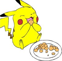 Pikachu Eats by beebarb