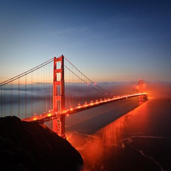 Dawn behind the Golden Gate by nathanspotts
