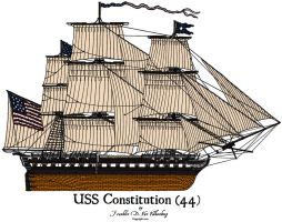 USS Constitution Colored by CdreJohnPaulJones