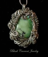 Grass Tourqoise Pendant by blackcurrantjewelry